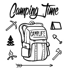 backpack hand drawn concept line icons linear vector image