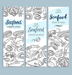 banner template hand drawn seafood vector image