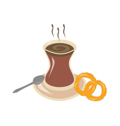 beautiful delicious hot tea in a traditional vector image