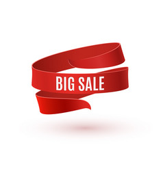 Big sale red ribbon isolated on white background vector