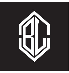 bl logo monogram with hexagon shape and outline vector image