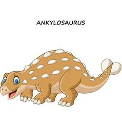 cartoon funny ankylosaurus vector image