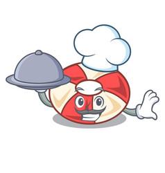 chef with food swim tube mascot cartoon vector image