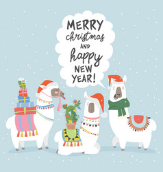 christmas card with llama merry christmas card vector image