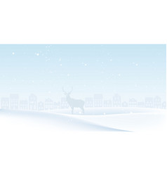Christmas landscape with deer and forest vector