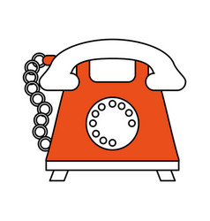 Color silhouette cartoon retro telephone with cord vector