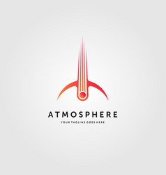 Comet crashed atmosphere logo meteor impact vector