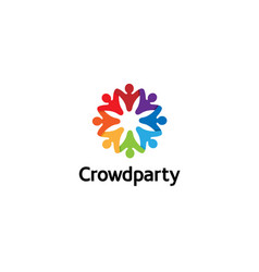 creative colorful crowd logo vector image
