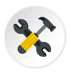 Crossed wrench and hammer icon circle vector