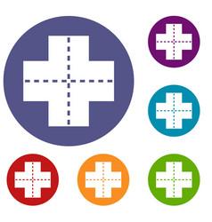 Crossroad icons set vector