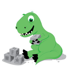 cute baby dinosaur playing with stone cube toys vector image