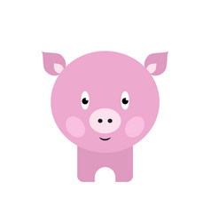 cute pig cartoon happy smiling little bapig vector image
