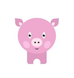 cute pig cartoon happy smiling little bapig vector image