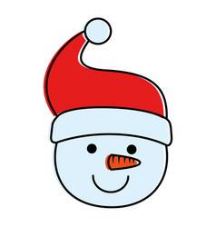 cute snowman head character icon vector image