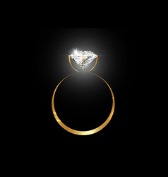 Dazzling diamond ring on black background vector