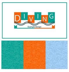 Diving linear design vector image