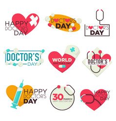 Doctors day isolated icons medicine pills and vector