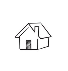 doodle house icon with hand drawn cartoon style vector image
