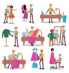 Dressmaker set male designer tailoring measuring vector