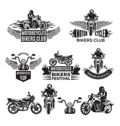 emblems or logo designs for club bikers vector image
