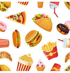 fast food seamless pattern restaurant or cafe vector image