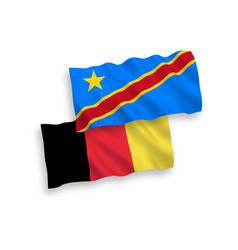 Flags belgium and democratic republic vector