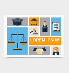flat judicial system elements collection vector image