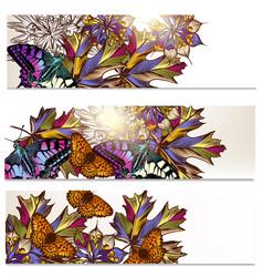 floral brochures set vector image