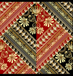 Floral striped greek key seamless pattern vector