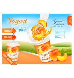 fruit yogurt with peach advert concept yogurt vector image