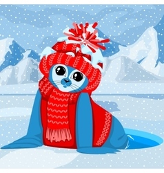 Fur seal pup in colorful hat vector