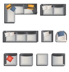 Furniture top view view set 6 vector