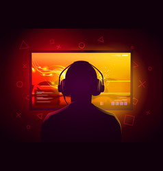 Gamer kid sit in front a screen and play games vector