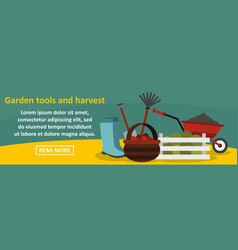 garden tools and harvest banner horizontal concept vector image