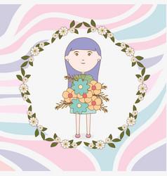 girl holding bouquet flowers cartoon vector image