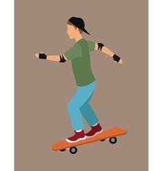 Guy skater with cap gloves vector
