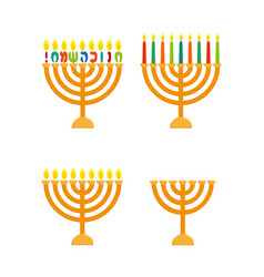 hanukkah menorah set vector image