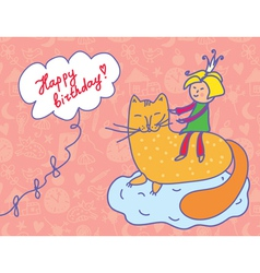 Happy birthday card with child and cat vector image