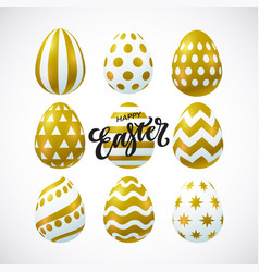 happy easter card with 3d decorative eggs vector image