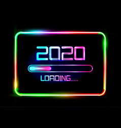 Happy new year 2020 loading icon blue neon sign vector