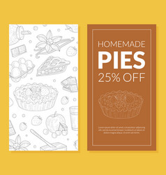 Homemade pie card template special offer flyer vector