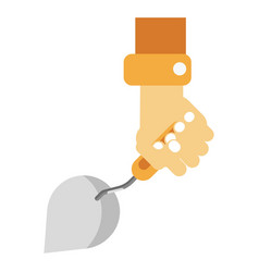 Human hand holding sharp construction spatula on vector