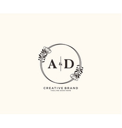 Initial ad letters hand drawn feminine and floral vector