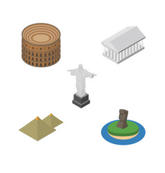 isometric cities set of coliseum rio chile and vector image