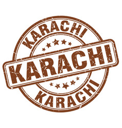 Karachi brown grunge round vintage rubber stamp vector