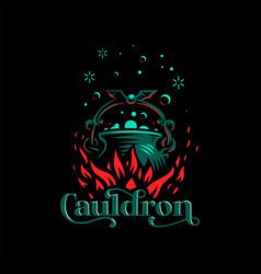 Magic cauldron with a bat handle vector