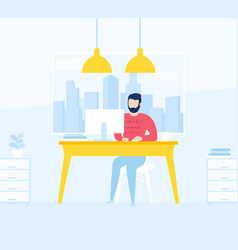 man working in open office space vector image