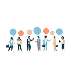 Mix race business people chat bubble communication vector