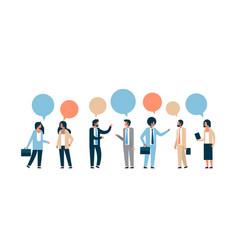 mix race business people chat bubble communication vector image