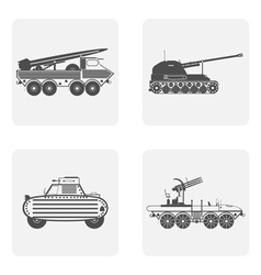 monochrome icon set with military equipment vector image